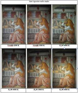 """Varie illuminazioni del dipinto """"Sant'Agostino nello studio"""""""